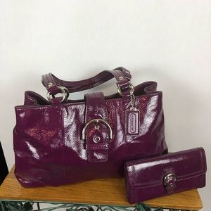 Coach patent leather bag and matching wallet